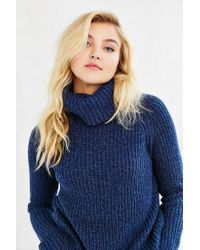 Silence + Noise | Blue Harley Shirttail Turtleneck Sweater | Lyst