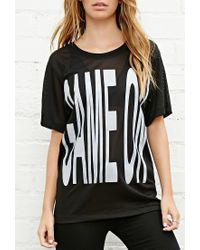 Forever 21 | Black Brashy Game On Mesh Tee | Lyst