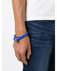 Alexander McQueen   Blue Woven Skull Bracelet for Men   Lyst