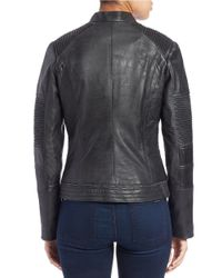 7 For All Mankind - Gray Moto Leather Jacket - Lyst