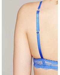 Free People | Blue Cheeky Lace Bra | Lyst