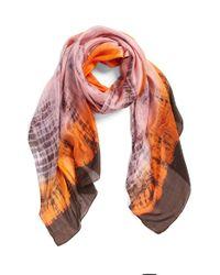 La Fiorentina | Orange Tie Dye Silk Scarf | Lyst