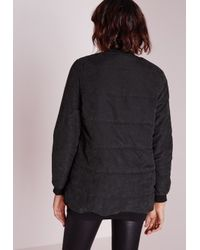 Missguided - Longline Suedette Padded Bomber Jacket Black - Lyst