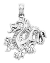 Macy's | 14k White Gold Charm, Small Dragon Charm | Lyst