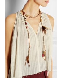 Etro - Brown Suede, Bone, Feather And Bead Wrap Necklace - Lyst