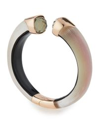 Alexis Bittar - Pink Lucite Hinge Cuff Bracelet With Crystals - Lyst