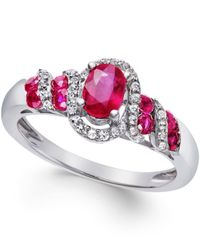 Macy's | Metallic Ruby (7/8 Ct. T.w.) And Diamond (1/6 Ct. T.w.) Twist Ring In Sterling Silver | Lyst