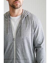 Forever 21 - Gray Marled Zip-up Hoodie for Men - Lyst