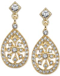 2028 | Metallic Gold-Tone Crystal Pear-Shaped Drop Earrings | Lyst