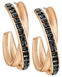 Swarovski | Metallic Rose Gold-tone Crystal Crossover Hoop Earrings | Lyst