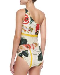 Jean Paul Gaultier | Multicolor One-Shoulder Sheer Printed Coverup | Lyst