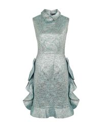 Paskal - Blue Collar Ruffle Metallic Jacquard Dress - Lyst