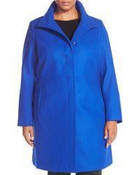 Via Spiga - Blue Stand Collar Wool Blend Coat - Lyst