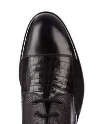 Alexander McQueen | Black Leather And Suede Derby Shoes for Men | Lyst