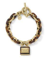 Michael Kors - Metallic Padlock Toggle Bracelet Goldentortoise - Lyst
