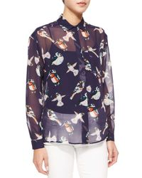 MSGM - Multicolor Sheer Bird-print Silk Blouse - Lyst