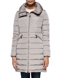 Moncler - Gray Flamme Mid-Length Quilted Jacket - Lyst