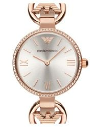 Emporio Armani - Pink Crystal Bezel Lizard Strap Watch - Lyst