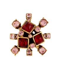 Oscar de la Renta - Red Starburst Resin And Crystal Ring - Lyst