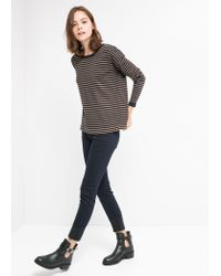 Mango - Blue Round-Neck Striped Sweater - Lyst