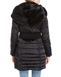 Laundry by Shelli Segal | Black Faux Fur Trim Cinched Waist Coat | Lyst