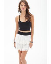 Forever 21 - White Embroidered Mini Skirt - Lyst
