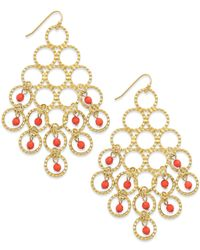 INC International Concepts | Pink Gold-tone Coral-colored Bead Circle Chandelier Earrings | Lyst
