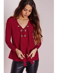 Missguided | Eyelet Tie Blouse Red | Lyst