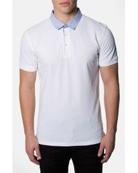 7 Diamonds | White 'center Stage' Trim Fit Contrast Trim Pique Polo for Men | Lyst