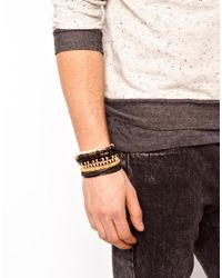 ASOS - Black Leather Bracelet Pack for Men - Lyst