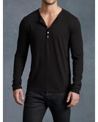 John Varvatos - Black Long Sleeve Henley for Men - Lyst