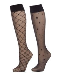 Charnos | Black 2 Pack Spot And Diamond Knee Highs | Lyst