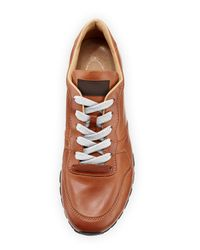 Tod's - Brown Runner Burnished Leather Sneaker for Men - Lyst