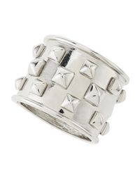 Kenneth Jay Lane - Metallic Pyramid Studded Polished Rhodium Cuff Bracelet - Lyst