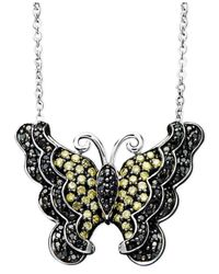 Macy's | Metallic Sterling Silver Necklace, Yellow And Black Diamond Butterfly Pendant (1/2 Ct. T.w.) | Lyst