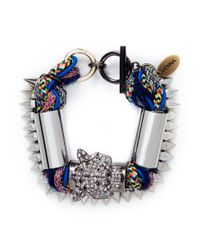 Venna - Multicolor Crystal Jaguar Head Multi-thread Bracelet - Lyst