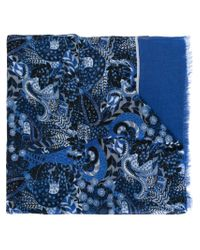 Kiton - Blue Oversize Paisley Scarf for Men - Lyst