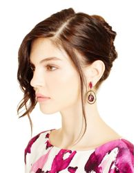 Oscar de la Renta | Purple Crystal Drop Earrings | Lyst