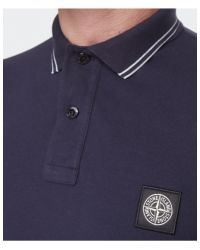 Stone Island - Blue Long Sleeve Polo Shirt for Men - Lyst
