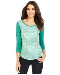 Calvin Klein Jeans - Green Three-Quarter-Sleeve Colorblocked Top - Lyst