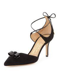 Ferragamo - Black Carolyn Suede Ankle-wrap Pump - Lyst