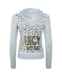 Juicy Couture Gray Leopard Sequin Velour Hoodie