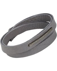 Feathered Soul - Gray Pave Diamond & Leather Alignment Bar Wrap Bracelet - Lyst