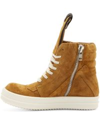 Rick Owens | Brown Tan Suede Geobasket Sneakers | Lyst