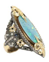 Armenta | Blue Midnight Fleur De Lis Oval Opal Ring | Lyst