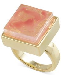 French Connection - Pink Gold-Tone Semiprecious Square Stone Cocktail Ring - Lyst