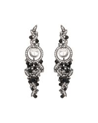 Mikey | Black Hanging Drop Crystal Earring | Lyst