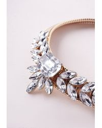 Missguided | Metallic Crystal Statement Collar Gold | Lyst