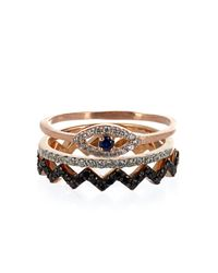 Aamaya By Priyanka - Black Rose Gold-Plated Set Of Three Rings - Lyst