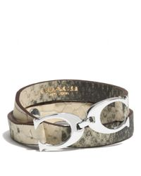 COACH | Multicolor Exotic Twin Signature C Leather Wrap Bracelet | Lyst